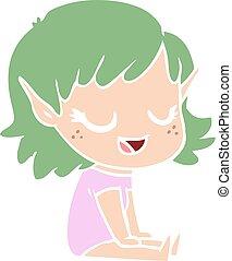 appartamento, stile, pavimento, colorare, seduta, elfo, ragazza, cartone animato, felice