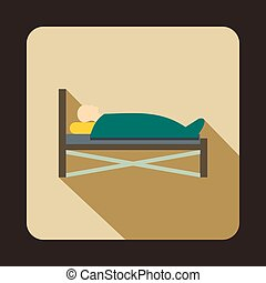appartamento, stile, paziente, letto ospedale, icona