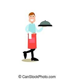 appartamento, stile, persone, illustrazione, vettore, cuoco