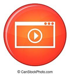 appartamento, stile, playback, programma, icona, video