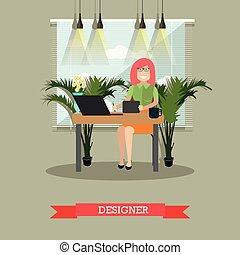 appartamento, stile, progettista, illustrazione, creativo, vettore