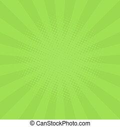 appartamento, stile, raggi, fondo, effect., astratto, color., verde, sagoma, sun., cartone animato, halftone, tuo, projects.