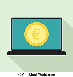 appartamento, stile, schermo, segno, icona, laptop, euro