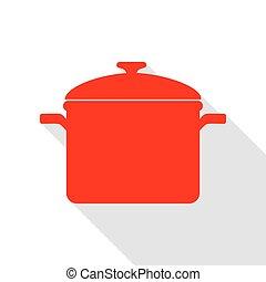 appartamento, stile, segno., cottura, rosso, uggia, path., pan, icona
