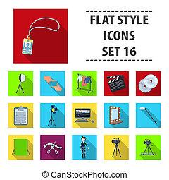 appartamento, stile, set, bitmap, icone, film, simbolo, cinema.making, web., collezione, apparecchiatura, altro, macchina fotografica, illustrazione, proiettore, chromakey, casato