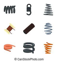 appartamento, stile, set, bobina primaverile, icona