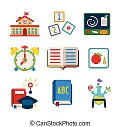 appartamento, stile, set, colorito, icone, vettore, ...
