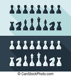 appartamento, stile, set, concept., moderno, figure, scacchi, disegno