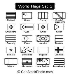 appartamento, stile, set, contorno, semplice, 3, disegno, mondo, bandiere, spesso, bianco, nero