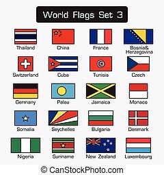 appartamento, stile, set, contorno, semplice, 3, disegno, mondo, bandiere, spesso