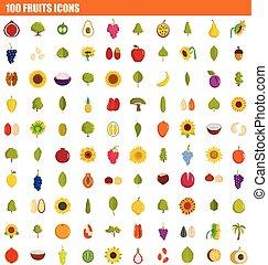 appartamento, stile, set, frutte, 100, icona