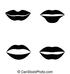 appartamento, stile, set, labbra, bocca, donne, icona