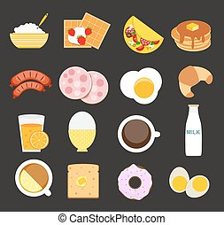 appartamento, stile, set, moderno, illustrazione, vettore, colazione, icona