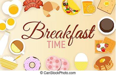 appartamento, stile, set, moderno, illustrazione, vettore, fondo, colazione, icona