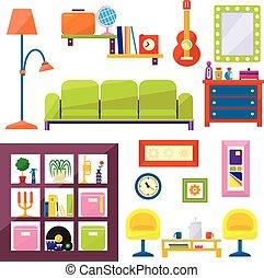 appartamento, stile, set, moderno, vettore, mobilia