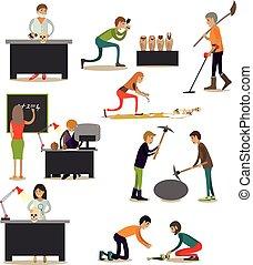 appartamento, stile, set, occupato, ricerca, vettore, ...
