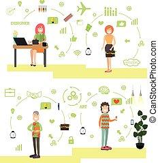 appartamento, stile, set, persone, creativo, vettore, squadra