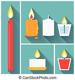 appartamento, stile, set, vettore, candela, icona