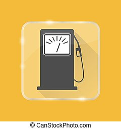 appartamento, stile, silhouette, benzina, bottone, stazione servizio, trasparente, icona