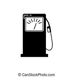 appartamento, stile, silhouette, stazione servizio benzina, icona