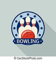 appartamento, stile, stella, logotipo, bowling