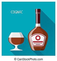 appartamento, stile, vetro, cognac, disegno, bottiglia