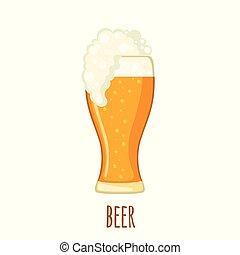 appartamento, stile, vetro, isolato, fondo., birra, bianco