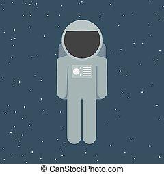 appartamento, stile, vettore, astronauta