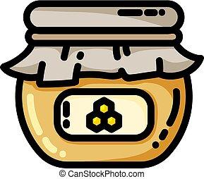 appartamento, stile, web, vaso, illustrazione, miele, vettore, icon.