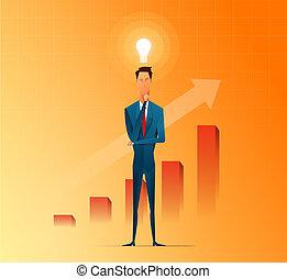 appartamento, successo, prendere, pensare, idee, affari, vettore, fondo, uomo affari, cartone animato