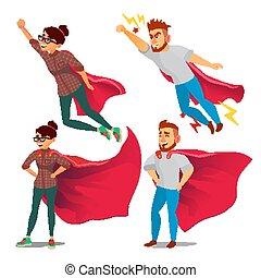 appartamento, super, superhero, affari, riuscito, donna d'affari, concept., carattere, isolato, illustrazione, ondeggiare, vittoria, vector., person., cape., cartone animato, realizzazione, rosso