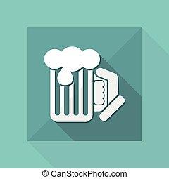 appartamento, -, tazza birra, vettore, icona