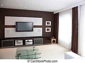 appartamento, teatro, stanza, schermo tv, moderno, interno, ...