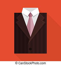 appartamento, tie., affari, marrone, colorare, giacca