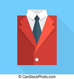 appartamento, tie., colore affari, giacca, rosso
