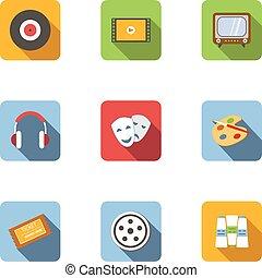 appartamento, tipo, arte, icone, set, stile