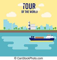 appartamento, tour., simbolo., oceano, crociera, turismo, viaggio