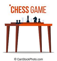 appartamento, tournament., isolato, logico, pieces., gioco, illustrazione, vector., figure, sport, tavola., cartone animato, scacchi