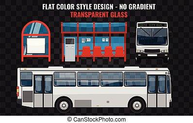appartamento, transport., autobus, moderno, fermata, pubblico, bianco, bus., fronte, disegno, vista., fresco, città, struttura, lato