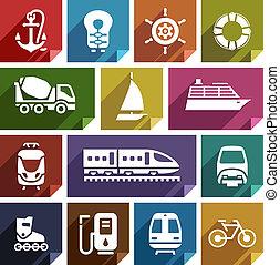 appartamento, trasporto, icona