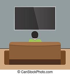 appartamento, tv, sofa., indietro, osservare, solido, disegno, vector., vista., colorare, uomo