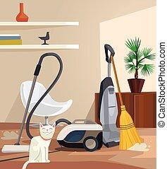 appartamento, ufficio, banner., room., illustrazione, vettore, pulizia, cartone animato