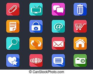 appartamento, uggia, web, lungo, icone