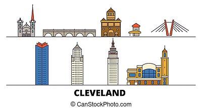 appartamento, unito, illustration., città, stati, limiti, famoso, vettore, viste, cleveland, linea, orizzonte, viaggiare, design.