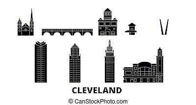 appartamento, unito, illustrazione, stati, viaggiare, landmarks., simbolo, orizzonte, vettore, nero, viste, cleveland, città, set.