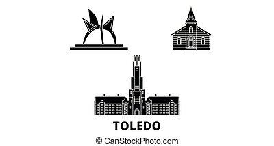 appartamento, unito, illustrazione, stati, viaggiare, landmarks., simbolo, orizzonte, vettore, nero, viste, toledo, città, set.
