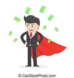 appartamento, uomo, soldi, vettore, cadere, illustrazione, super, disegno, lotti, eroe, affari