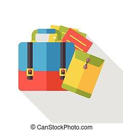 appartamento, valigia, ufficio, icona