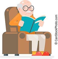 appartamento, vecchio, sedere, leggere, illustrazione, vettore, disegno, adulto, caratteri, sedia, uomo, libro, icona