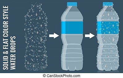 appartamento, vector., goccia, acqua, realistico, bottiglia, surface., icona